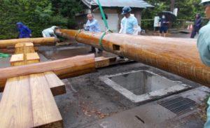 松澤熊野神社大鳥居建て替え 組み立て