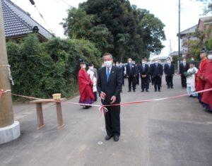 松澤熊野神社大鳥居建て替え テープカット