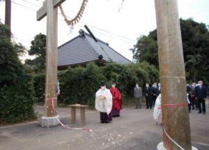 松澤熊野神社大鳥居建て替え 清祓い、くぐり初め